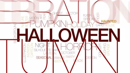 plakat : Halloween animated word cloud, text design animation. Kinetic typography.