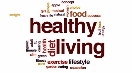 life energy : Healthy living animated word cloud, text design animation. Stock Footage