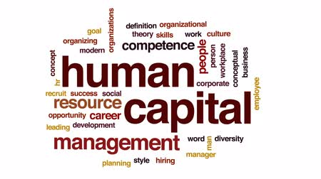 competence : Human capital animated word cloud, text design animation. Stock Footage