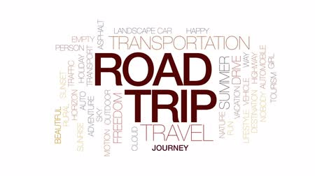 cinético : Road trip animated word cloud, text design animation. Kinetic typography. Vídeos