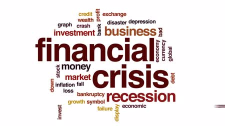 снижение : Financial crisis animated word cloud, text design animation.