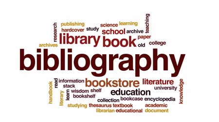 ansiklopedi : Bibliography animated word cloud, text design animation. Stok Video