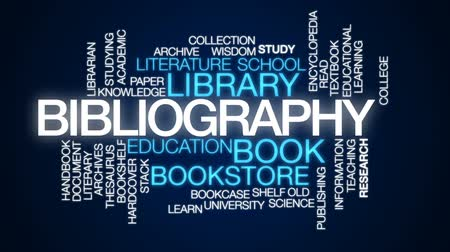 edebi : Bibliography animated word cloud, text design animation. Stok Video
