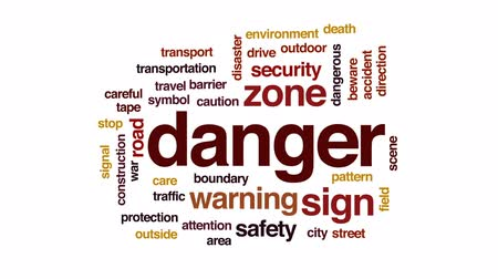 riskli : Danger animated word cloud, text design animation. Stok Video
