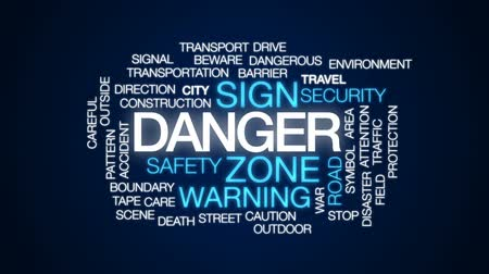 kask : Danger animated word cloud, text design animation. Stok Video