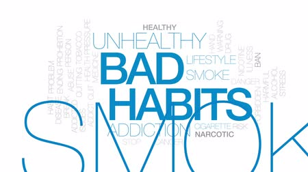курильщик : Bad habits animated word cloud, text design animation. Kinetic typography.