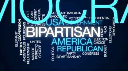democrat : Bipartisan animated word cloud, text design animation.