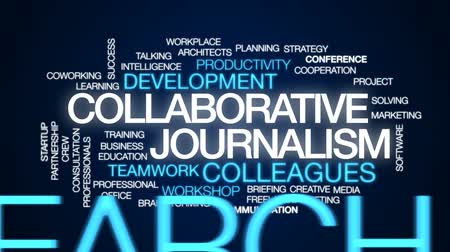 briefing : Collaborative journalism animated word cloud, text design animation.