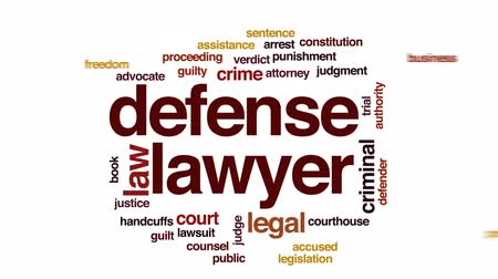 kajdanki : Defense lawyer animated word cloud, text design animation. Wideo