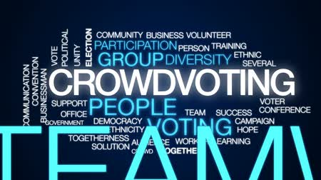 birlik : Crowdvoting animated word cloud, text design animation.