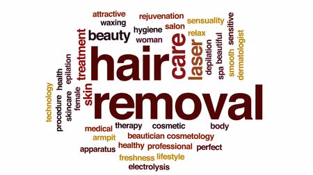 woman waxing : Hair removal animated word cloud, text design animation. Stock Footage
