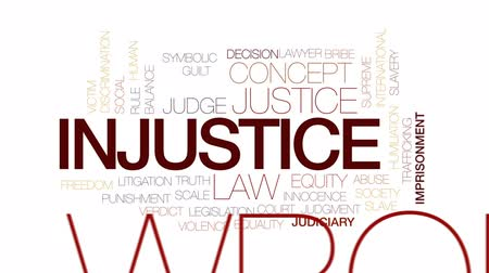supremo : Injustice animated word cloud, text design animation. Kinetic typography.