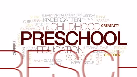 pré escolar : Preschool animated word cloud, text design animation. Kinetic typography.