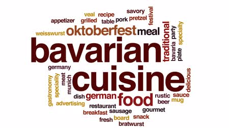 bulaşıklar : Bavarian cuisine animated word cloud, text design animation. Stok Video