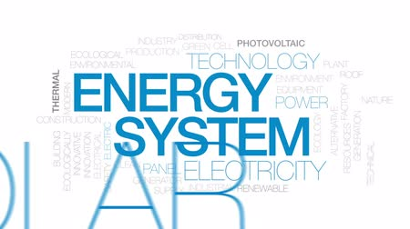 fotovoltaik : Energy system animated word cloud, text design animation. Kinetic typography.