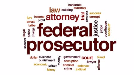 prosecutor : Federal prosecutor animated word cloud, text design animation.