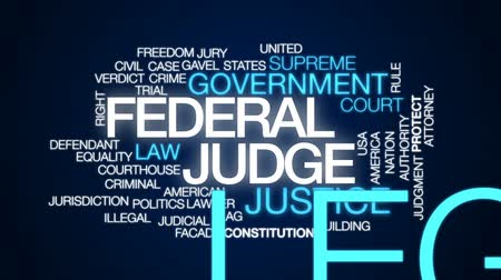 gabela : Federal judge animated word cloud, text design animation.