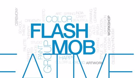 mob : Flash mob animated word cloud, text design animation. Kinetic typography.