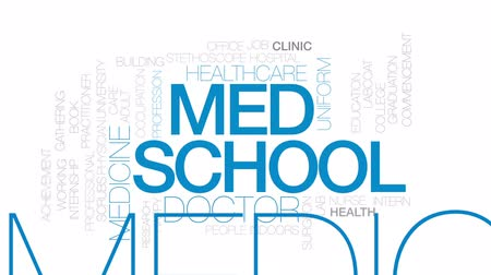 med : Med school animated word cloud, text design animation. Kinetic typography. Stock Footage
