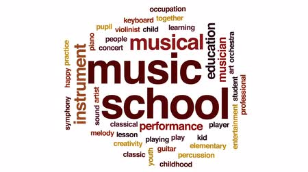 houslista : Music school animated word cloud, text design animation.
