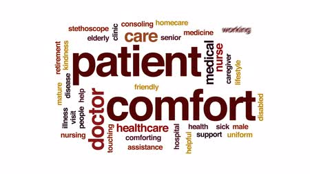 bez szwu : Patient comfort animated word cloud, text design animation.