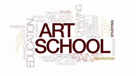 палитра : Art school animated word cloud, text design animation. Kinetic typography.