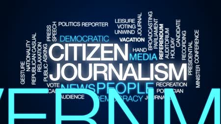 jornalismo : Citizen journalism animated word cloud, text design animation. Stock Footage