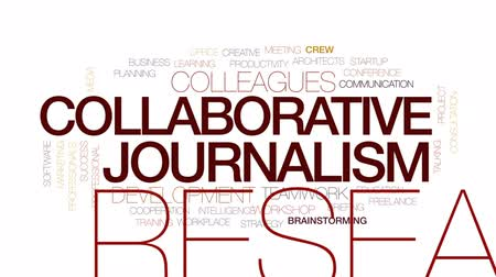 jornalismo : Collaborative journalism animated word cloud, text design animation. Kinetic typography.