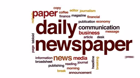 coffee press : Daily newspaper animated word cloud, text design animation. Stock Footage