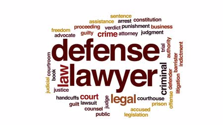 autoridade : Defense lawyer animated word cloud, text design animation. Stock Footage