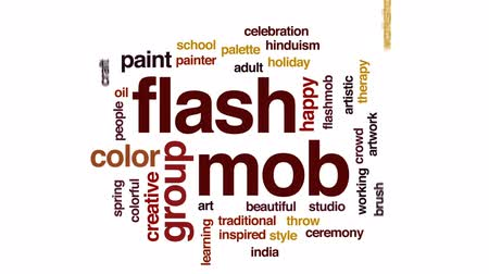 mob : Flash mob animated word cloud, text design animation.
