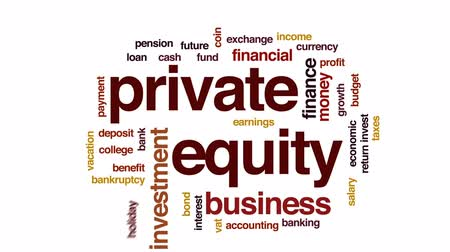 belangen : Private equity geanimeerde word cloud, tekstontwerpanimatie. Stockvideo