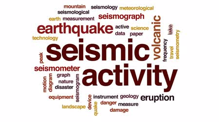 enstrüman : Seismic activity animated word cloud, text design animation.