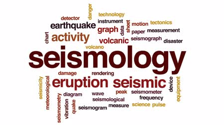 meteorological : Seismology word cloud, text design animation.