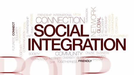 integrado : Social integration animated word cloud, text design animation. Kinetic typography.