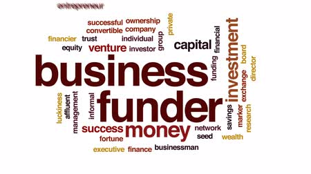 affluent : Business funder animated word cloud, text design animation.