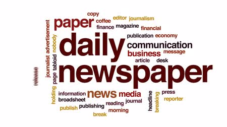 czytanie : Daily newspaper animated word cloud, text design animation. Wideo