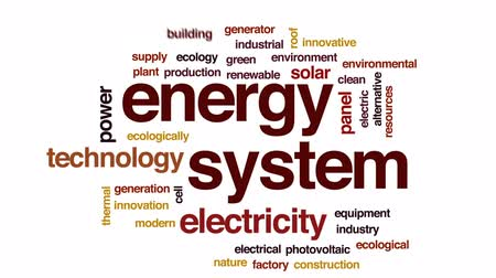 fotovoltaik : Energy system animated word cloud, text design animation.