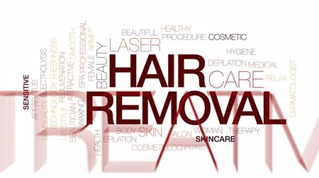 depilation laser : Hair removal animated word cloud, text design animation. Kinetic typography. Stock Footage