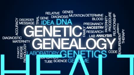 отцовство : Genetic genealogy animated word cloud, text design animation.
