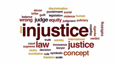 supremo : Injustice animated word cloud, text design animation. Vídeos