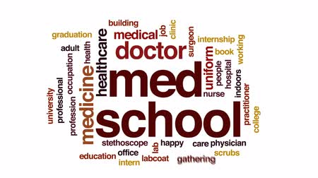 med : Med school animated word cloud, text design animation.