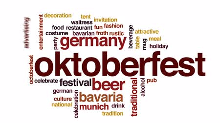 Бавария : Oktoberfest animated word cloud, text design animation.