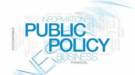 administracja : Public policy animated word cloud, text design animation. Kinetic typography.