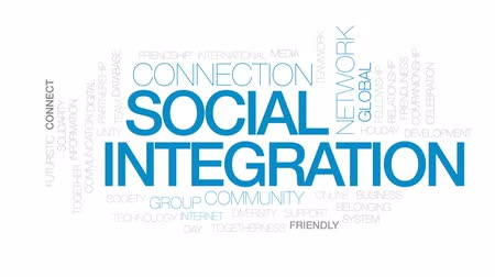 integrovaný : Social integration animated word cloud, text design animation. Kinetic typography.