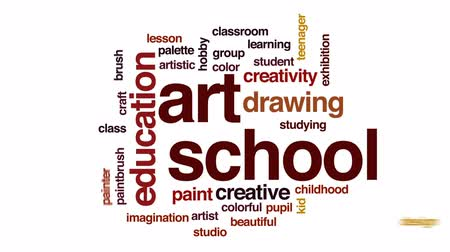 палитра : Art school animated word cloud, text design animation.
