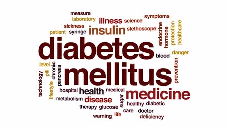 шприц : Diabetes mellitus animated word cloud, text design animation.