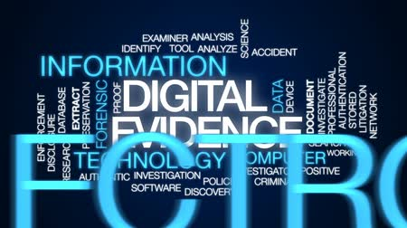 investigar : Digital evidence animated word cloud, text design animation.