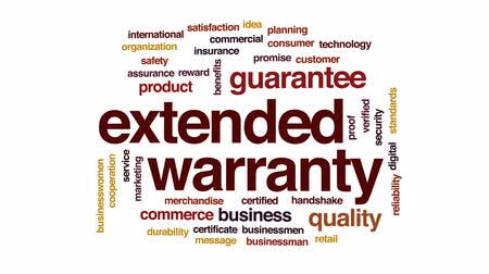 söz : Extended warranty animated word cloud, text design animation.