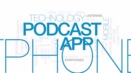 mobile music : Podcast app animated word cloud, text design animation. Kinetic typography. Stock Footage
